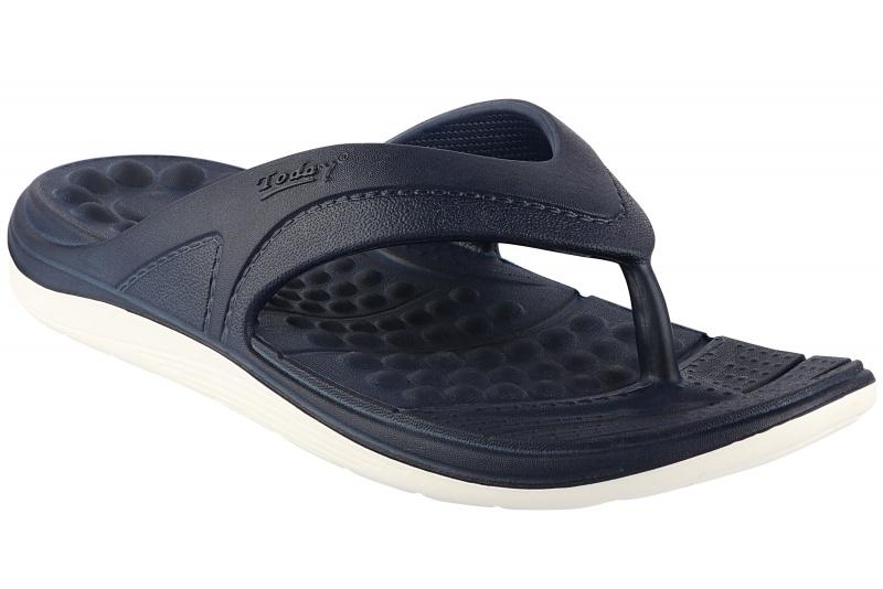 Comforz White/Navy Blue Flip-Flop